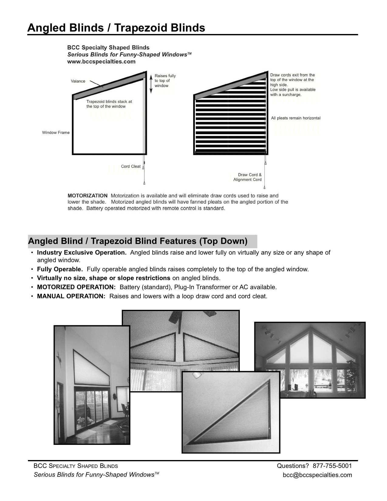 Bcc Specialties Angled Blinds Specifications